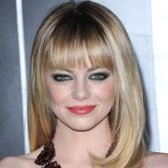 We're BIG fans of Emma Stone's chunky bangs. Click through to see more stars rocking this season's hottest hairstyles: http://www.womenshealthmag.com/beauty/celebrity-haircuts?cm_mmc=Pinterest-_-womenshealth-_-content-beauty-_-celebritieswithfreshhairstyles