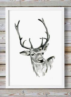 Fawn Art Deer watercolor  ink drawing  Giclee print  by ZenInks