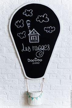 """Graphite desk /  Купить Меловая доска """"Воздушный шар"""" - чёрно-белый, меловая доска, для детей, детская комната"""