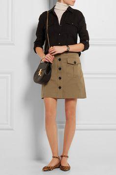 Burberry Brit   Stretch-cotton twill mini skirt   NET-A-PORTER.COM