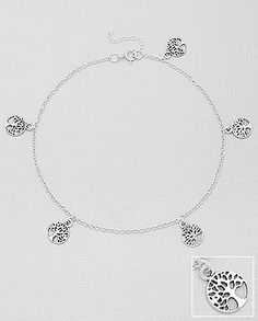 sterling silver anklet decorated with silver tree charms