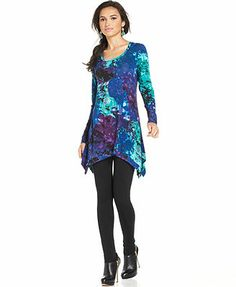 Grace Elements Printed Handkerchief-Hem Tunic Top monte floral(blue/purple/turquoise) rayon/spandex (33.59) NA 10/15