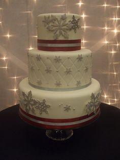 Silvery Snowflake Wedding Cake