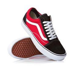 Vans Old School Shoes - Black/Red Source by Shoes Vans Shoes Fashion, Mens Vans Shoes, Vans Sneakers, Vans Men, Converse, Red And Black Vans, Red Vans, Vans Old School Shoes, Black Vans Outfit