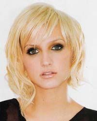 ashlee-simpson-Square Shape face  AVOID:  • Long, straight hairstyles with center parts  • Straight blunt cut bangs  • Straight bob ending at jawline