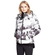 Moncler Abbadia Forest Print Hooded Down Puffer Coat ($1,885) ❤ liked on Polyvore featuring outerwear, coats, down puffy coat, quilted coat, moncler coats, hooded quilted coat and quilted puffer coat