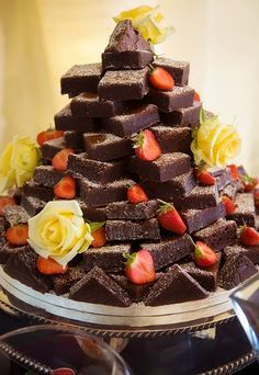 Instead of traditional wedding cake... Brownies