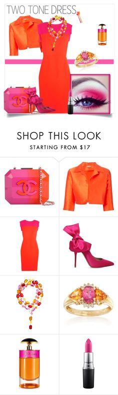 """TWO TONE DRESS"" by pam-doel on Polyvore featuring Chanel, P.A.R.O.S.H., Antonio Berardi, Kurt Geiger, Ross-Simons, Prada and MAC Cosmetics"
