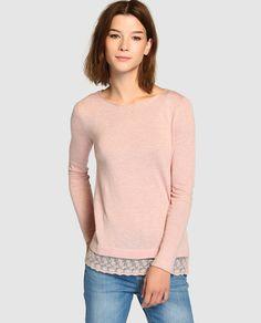Jersey de punto fino de mujer Fórmula Joven en color rosa