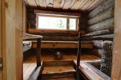 The Villa Maria Log Cabin is Totally Unique and Adorable Inside Sauna Design, Cabin Design, Small House Design, Cottage Design, Design Design, Rustic Saunas, Sauna House, Modern Log Cabins, Outdoor Sauna