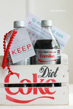 DIY Diet Coke Bottle Hack... with FREE Printable Labels to Personalize YOUR Diet Coke! via lollyjane.com