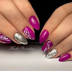100 Beautiful Purple Nail Art Designs and Trendy Colors 2018 Classy Nails, Trendy Nails, Cute Nails, My Nails, Purple Nail Art, Silver Nail Art, Nail Art Arabesque, Halloween Nail Art, Gel Nail Designs