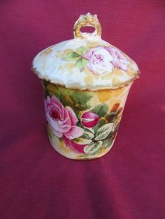 A VERY RARE LIMOGES CONDENSED MILK CONTAINER KEEPER RED PINK WHITE ROSES SIGNED
