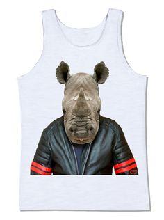 camiseta rinoceronte jaqueta de couro motocicleta moto animal harley davidson