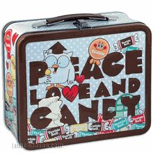 """Classic embossed metal lunch box shows the #vintage Tootsie Roll images, including Mr. Owl. The big caption says """"Peace, Love, And Candy""""."""