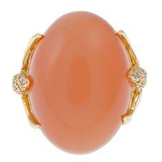 HENRY DUNAY Tangerine Moonstone Diamond Gold Ring. Gorgeous!