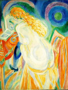 Nude woman reading 2, 1915. Robert Delaunay (1885 -1941) French painter.