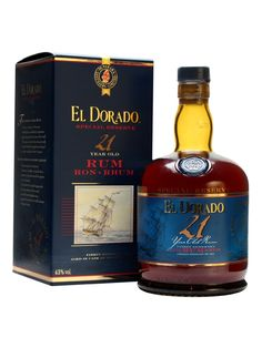 El Dorado Rum 21 Year Old : The Whisky Exchange Rum Liquor, Liquor Drinks, Alcoholic Drinks, Cigars And Whiskey, Bourbon Whiskey, Scotch Whisky, El Dorado Rum, Brewery Design, Aged Rum