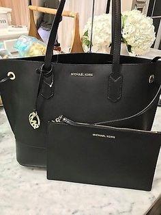56afb268f519 Michael Kors Trista Large Leather Drawstring Handbag - Black for sale  online | eBay