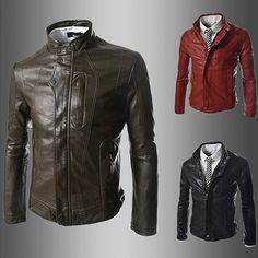 Men Zip Up Slim Fit Black Faux Leather Jacket | Sneak Outfitters ...