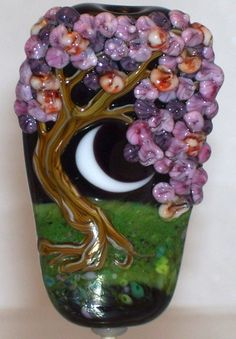 WSTGA~MOONLIT BLOSSOMS~TREE FLORAL handmade lampwork focal glass bead SRA #Lampwork By Molly Cooley