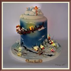 50 Out-Of-The-Box And Different Christmas Cake Ideas For This Year's Amazing Christmas Great Christmas Cake Design Holiday Cakes, Christmas Desserts, Christmas Treats, Christmas Baking, Christmas Cakes, Holiday Parties, Christmas Cake Topper, Christmas Christmas, Fondant Cakes