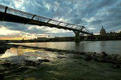 Millennium Bridge Sunset on reflection
