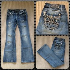 Miss Me Jeans Boot Cut Size 26 Awesome pair of jeans boot cut.  Regular length. Size 26. Cute rhinestones in the back pocket. In excellent condition. Miss Me Jeans Boot Cut