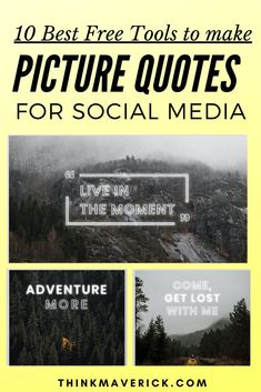 How to create beautiful picture quotes for Instagram, Facebook, Pinterest, Twitter. If you're a blogger or small business owner, consider using picture quotes to boost engagement on your page, makes your brand feel more human and connect with your audience for lasting influence. Here're 10 tools that allow you to transform your texts and photos into beautiful picture quotes quickly. Save your time. You can easily create quote images, pictures, photos online. #quotes #socialmedia…