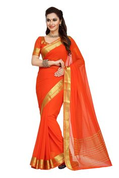 ORANGE CHIFFON SAREE WITH WEAVING WORK Wedding Sari, Indian Wedding Outfits, Indian Outfits, Wedding Reception, Reception Sarees, Half Saree Lehenga, Chiffon Saree, Party Wear Sarees, Designer Sarees