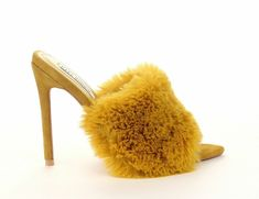 f7bb9e6e4726 Cape Robbin Savage Yellow Faux Fur Slip-On Mules Pointy Open Toe Stiletto  Heel