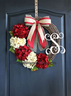 Christmas Hydrangea wreath Monogram Wreaths for by OurSentiments