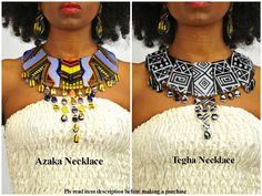 Ankara statement necklaces can only be worn by a woman who is not afraid of her shine. Handmade Ankara statement necklaces from Utter Ladyness are designed to make you stand out from the crowd. These colorful, bold, and beautiful necklaces are also design Diy African Jewelry, African Accessories, African Earrings, Fabric Necklace, Fabric Jewelry, African Inspired Fashion, African Fashion, African Style, Afro