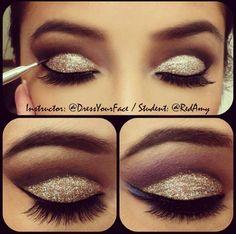 Cut crease glitter eyes
