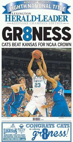 The Lexington Herald Leader Special Edition ---- Lexington, Kentucky April 3, 2012..... Cats beat Kansas for NCAA Crown!