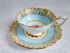 ❤☆.¸.☆ *❤ $75.00..Vintage Tea Cup and Saucer in Turquoise Blue and Gold - Vintage Teacup and Saucer Royal Stafford - ❤☆.¸.☆ *❤