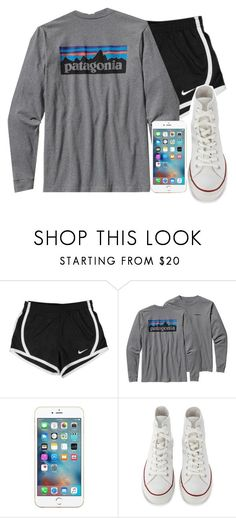 """Sm homework!"" by simplesouthernlife01 ❤ liked on Polyvore featuring NIKE, Patagonia and Converse"
