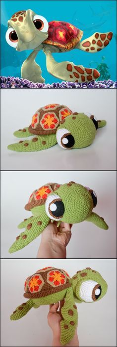 Crochet Diy Crochet Squirt sea turtle from Finding Nemo Pattern - We have rounded up a few Finding Dory Crochet Patterns for your inspiration. These are not all free but they are amazing! Crochet Amigurumi, Amigurumi Patterns, Crochet Dolls, Knitting Patterns, Ravelry Crochet, Crochet Beanie, Diy Crochet Toys, Knitting Toys, Crocheted Toys