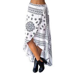 SK113 Womens Floral Print Bohemia Magic Maxi Skirt Boho Hippie Summer Beach Asymmetrical Wrap Long Skirt with Tie Up Straps New
