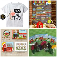 Farm Themed Birthday Party Ideas. Shirt can be purchased here: www.etsy.com/listing/539811862/moo-im-2-farm-birthday-unisex-shirt-or ++ Chalkboard Printable from https://www.etsy.com/shop/mjndoodles ++Printable Party Pack from https://www.etsy.com/shop/printablecandee ++Party Favors from: https://www.etsy.com/shop/LittleDoodlers
