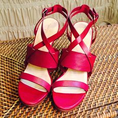 'Pelham' Strappy Wedge Sandal - Narrow 10AA The leather on these sandals is a gorgeous deep berry color. They are size 10 **NARROW**.  They are quite comfortable as they feature the 'Nike Air concealed footbed'.  I have worn them twice & they are in great condition. Cole Haan Shoes Wedges