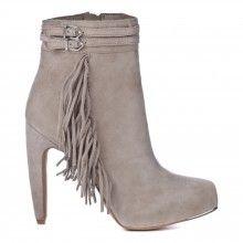Light Grey Leather Tassel Ankle Boots 11.5cm