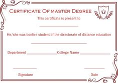 13 best Masters degree certificate template images on Pinterest in ...