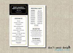 Printable Wedding Program - Tea Length Art Deco - Black and Gold Gatsby Wedding - Custom Colors