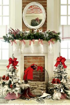 #Christmas #decoration ideas ToniKami Ðℯck Ʈհe HÅĿĿs Fireplace & hearth décor red & white