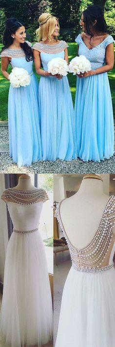 Cap Sleeves Prom Dresses,Blue Prom Dresses,Pearls Prom Dresses,Prom Dresses 2017,Bridesmaid Dresses 2017,Blue Bridesmaid Dresses