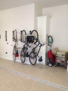 garage organization with bikes
