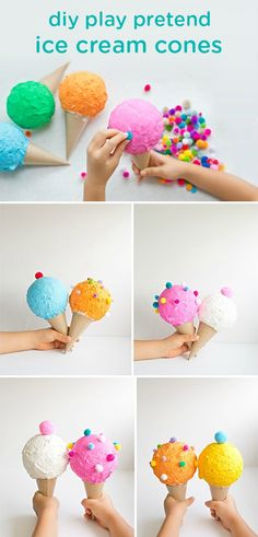 DIY PRETEND PLAY ICE CREAM CONES Your little ones may love helping you create these soft and safe DIY toddler toys: play pretend ice cream cones. Plus, they can have hours of kid-friendly summertime fun with them later! Baby Crafts, Toddler Crafts, Toddler Toys, Fun Crafts, Diy And Crafts, Arts And Crafts, Toddler Activities, Play Ice Cream, Ice Cream Theme