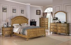 C202571KEset Emily Oak Collection King or Queen Size 4pc Bed Room Suite bed, dresser, mirror, nightstand | New $2599 Sale $1910.25 Friends Discounted Price $1432.69