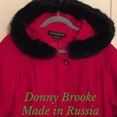 "Donny Brooke (Russia) Wool Coat Amazing, red wool, hooded coat, made in Russia. Fully lined, deep front pockets, toggle closures on drawstrings, hidden zipper. Crazy generous sizing! Measures : 27"" chest, 31.5"" length. **I'm Poshing this for a friend of my sister & my sis thinks the fur on the hood is real (bleh). No fabric tag to confirm. Donny Brooke Jackets & Coats"